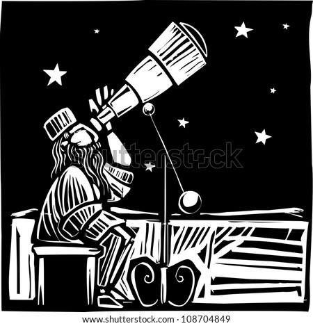 Woodcut style Persian astronomer watching the the sky.
