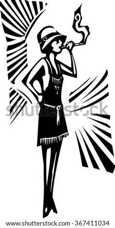 Woodcut syle image of a woman in a flapper dress smoking - stock vector