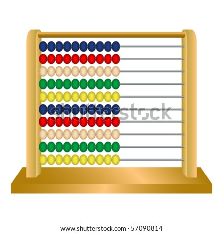 wooden abacus against white background, abstract vector art illustration