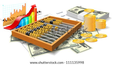 Wooden abacus, bills and coins are on the white background. - stock vector