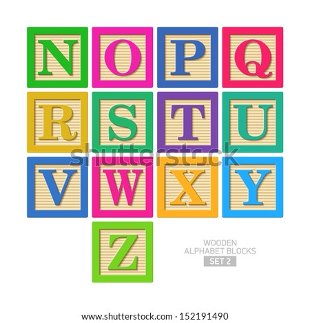 Wooden alphabet blocks. Vector. - stock vector