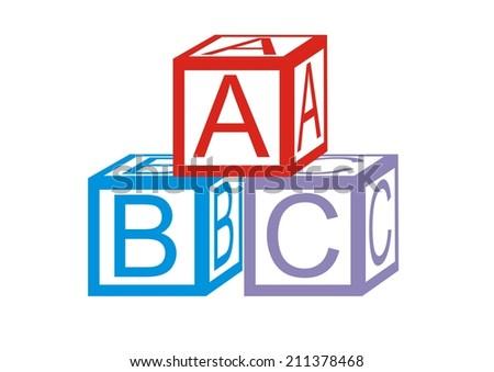 Wooden alphabet blocks. Vector. - stock vector