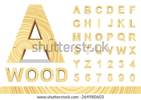 Wooden alphabet blocks with letters and numbers, vector set with all letters, for your text message, title or logos design. Isolated over white.