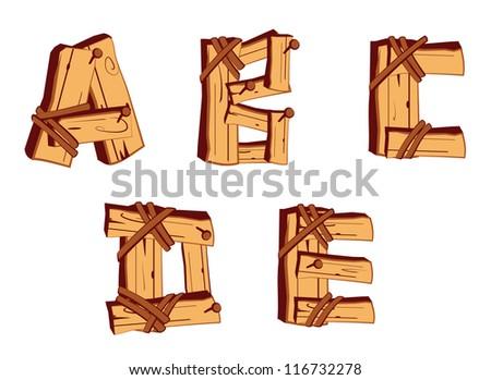 Wooden Alphabet letters - stock vector