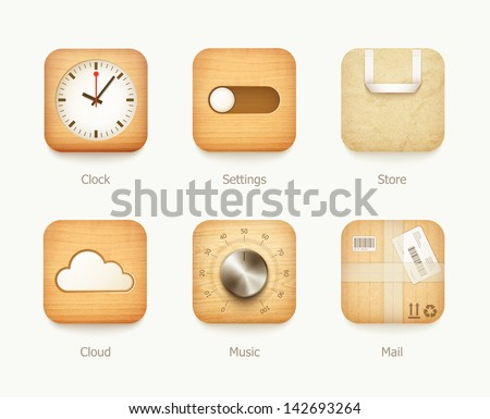 wooden and paper icons app set. eps10 vector illustration - stock vector