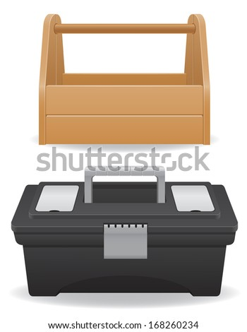 wooden and plastic tool box vector illustration isolated on white background - stock vector