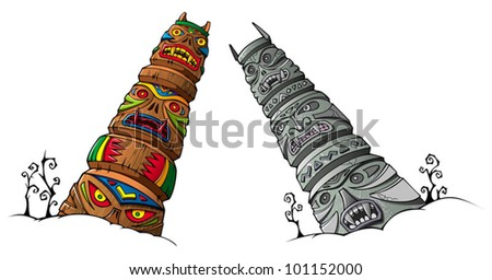 Wooden and stone scary idols (totems) of ancient clans and tribes, vector illustration - stock vector