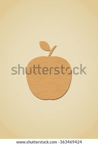 Wooden apple icon. Vector Illustration - stock vector