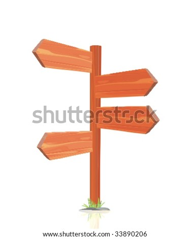 wooden arrow - stock vector