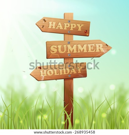 Wooden arrow information sign on summer meadow background vector illustration - stock vector