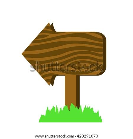 Wooden arrow sign in cartoon style vector illustration. Arrow sign design. Arrow sign vector. Wooden signpost. Wooden sign illustration. Wooden arrow sign information. Wooden pointer. Arrow sign icon - stock vector