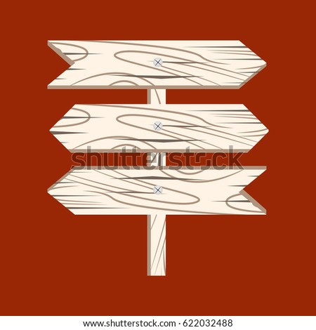 Wooden arrow. Wooden sign arrow icon isolated on white background