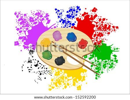 Wooden art palette. Color illustration. - stock vector