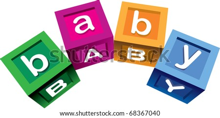 Wooden baby blocks, blue violet yellow and blue colored - stock vector
