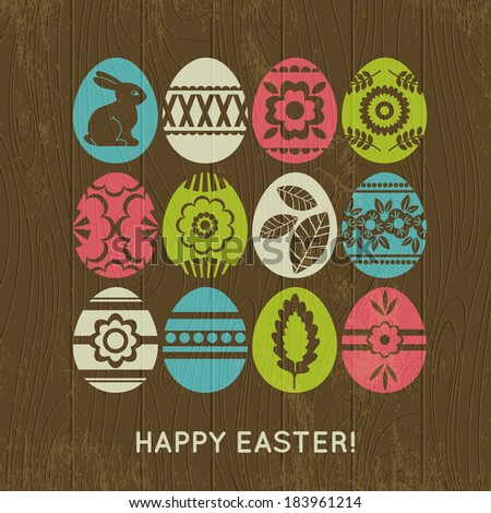 wooden background with color easter eggs, vector illustration - stock vector