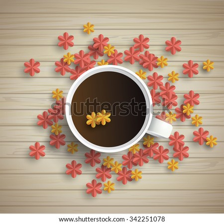 Wooden background with Cup of coffee and paper flowers - stock vector
