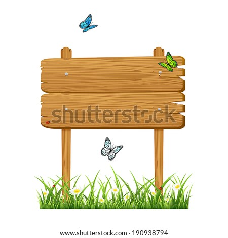 Wooden banner in a grass with butterflies isolated on white background, illustration.