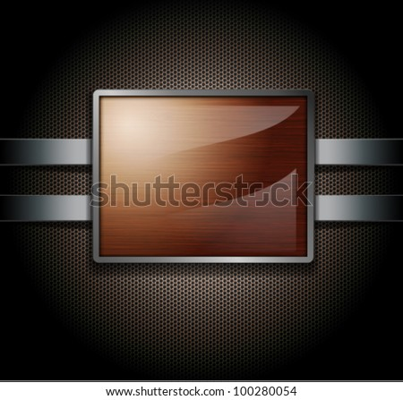 Wooden banner on a metal perforated background - stock vector