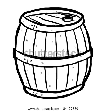 wooden barrel   cartoon vector and illustration  black and white  hand    Whiskey Barrel Drawing
