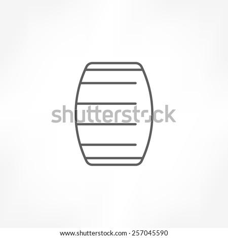 wooden barrel icon - stock vector