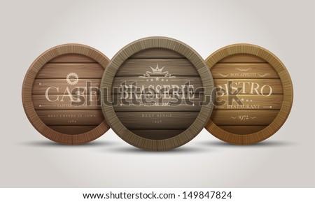 Wooden barrel signboards for cafe, restaurant, bistro, brasserie, beer, wine or whiskey. Vector illustration. - stock vector