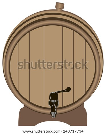 Wooden barrel with a tap on the stand. Vector illustration. - stock vector