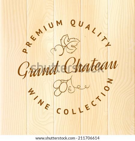 Wooden barrel with vine label. Vector illustration. - stock vector