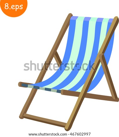 Cartoon deck chair stock images royalty free images vectors wooden beach blue striped deck chair isolated on white cartoon vector flat style voltagebd Gallery
