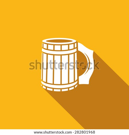 Wooden beer mug icon. Vector Illustration. - stock vector