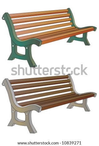 Wooden bench in different colors - stock vector