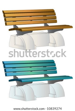 Wooden bench in different colors