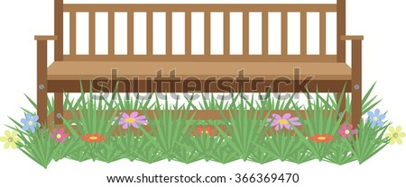 wooden bench on the lawn with flowers on a white background - stock vector