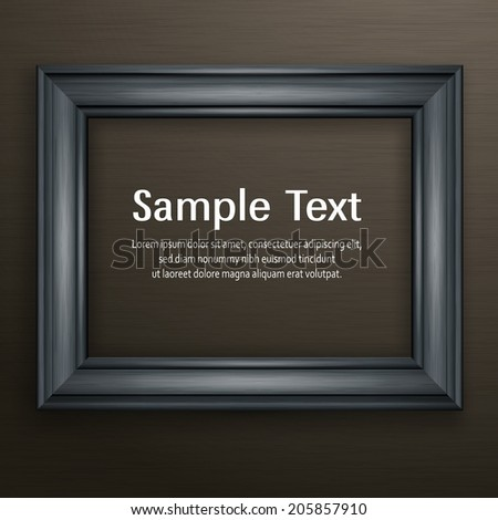 Wooden black frame for picture on dark background, vector illustration - stock vector