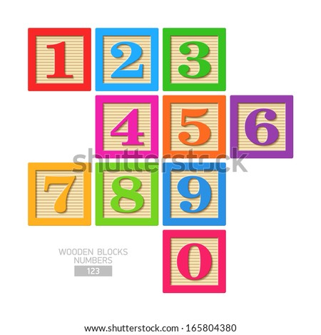 Wooden blocks - numbers. Vector. - stock vector