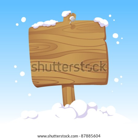 Wooden board against of a winter landscape. Christmas illustration. - stock vector
