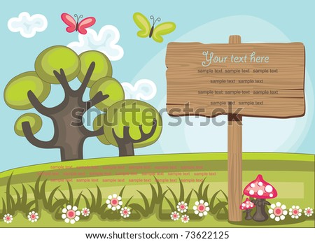 wooden board over cute nature scene. vector illustration - stock vector