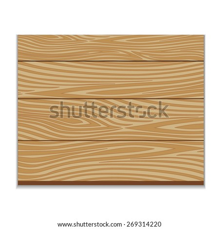 Wooden board. Vector illustration. Isolated on white - stock vector