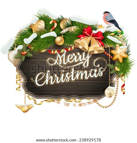 Wooden Board With Christmas Attributes. EPS 10 vector file included - stock vector