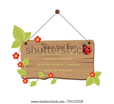 wooden board with convolvulus. vector illustration - stock vector