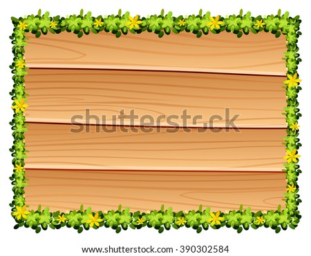 Wooden board with flowers decoration illustration