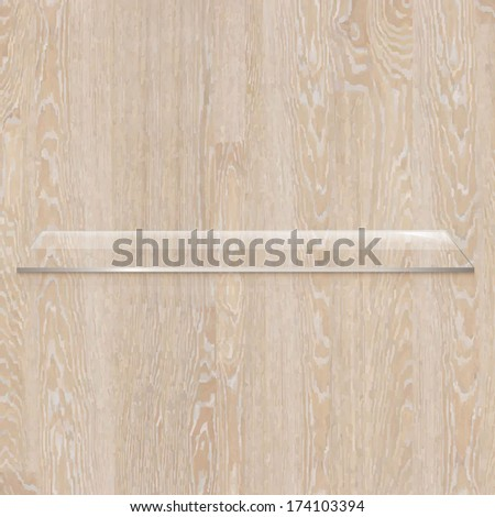 Wooden Board With Glass Shelf, Vector Illustration - stock vector