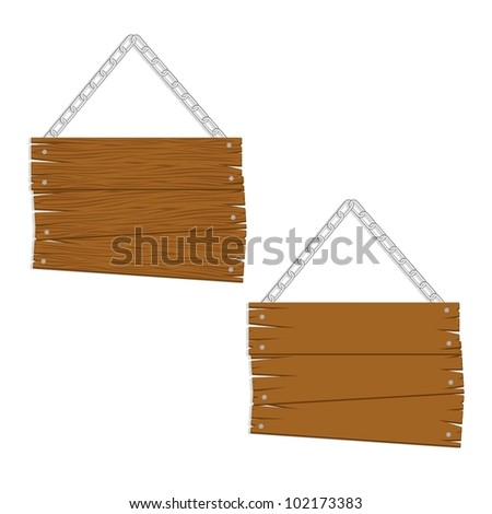 wooden boards with chain for messages, vector illustration