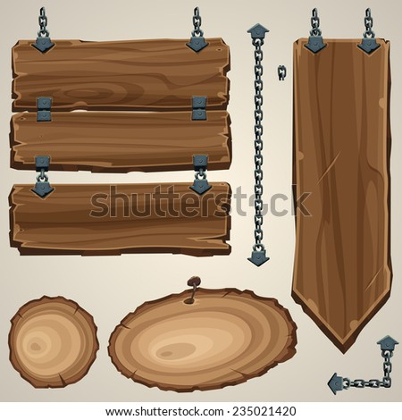 Wooden boards with chain. Vector illustration. - stock vector