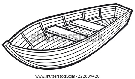 Wooden Boat Stock Vector 222889420
