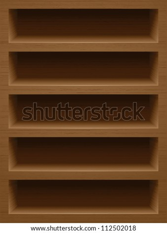 Wooden book shelf with natural texture and realistic shadows and highlights. It could be used as smart phone background for applications and games.