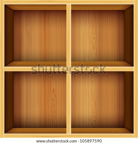 wooden bookshelf vector background - stock vector