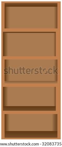 Wooden bookshelves five shelves, closet rack. Vector illustration. - stock vector