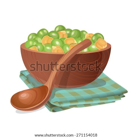 Wooden bowl with green and yellow peas in it / Wooden bowl stands on the blue checked napkin. There are a lot of big green and yellow peas in the bowl and in front of the bowl it is wooden spoon  - stock vector