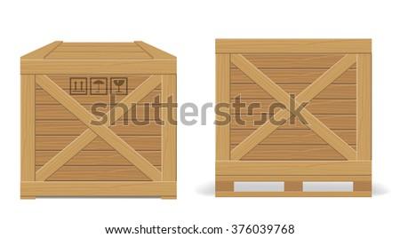 Wooden box - stock vector