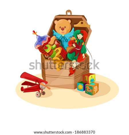 Wooden box or chest with retro toys of airplane blocks puppet teddy bear poster vector illustration - stock vector